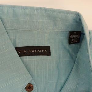 Via Europa Shirts - Via Europa Short Sleeve Rayon Blend Shirt Teal